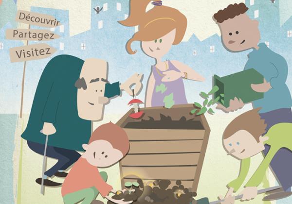 illustration vectorielle affiche Compost'action chambéry